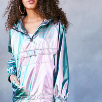 Silence + Noise Iridescent Packable Windbreaker Jacket | Urban Outfitters