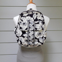 Vintage Vera Bradley Backpack, Camellia Pattern, Quilted Cotton Fabric