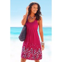Flower Printing Dress O-Neck Casual Vestidos Soft Comfortable Drawings Beach