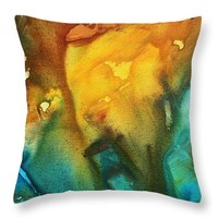 "Abstract Art Colorful Turquoise Rust RIVER OF RUST III by MADART Throw Pillow 14"" x 14"""