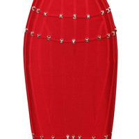 Red Stud Detail Bandage Skirt