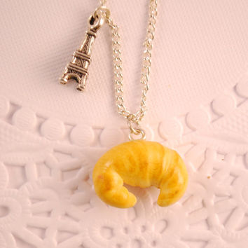 croissant necklace - food jewelry