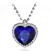 Classic Movie Titanic Heart Of The Ocean Necklace Crystal Pendant Necklaces & Pendants Women Jewelry collares Free Shipping