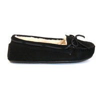 Minnetonka Cally - Black Suede Pile-Lined Moccasin