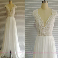 Sexy Wedding Ball Gown,Backless lace Bridal Gown,V-Neck lace prom dress,Long bridesmaid dress cheap dress chiffon dresses New Arrive
