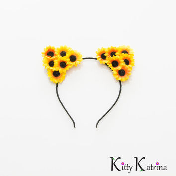 Sunflower Cat Ear Headband, Floral Cat Ears, Black Flower Headband, Coachella, Electric Daisy Carnival, Lollapalooza, Bonnaroo, Ezoo, PLUR