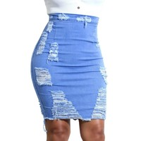 Denim Ripped Skirt Of Women High Waist Ripped Distressed Bodycon Pencil Jean Skirt For Ladies Fashion Women Skirt