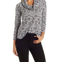 Ivory Combo Cowl Neck Hacci Top by Charlotte Russe