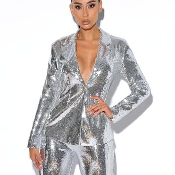 Into The Light Silver Sequin Blazer Jacket