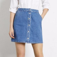 Denim Light Blue Buttons A-Line Skirt With Pocket