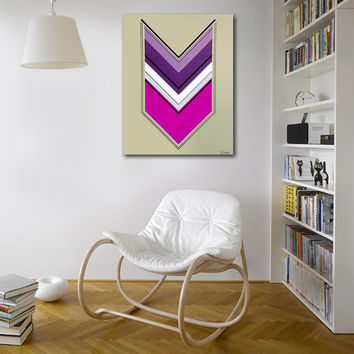 Made to order. Original abstract painting on canvas. 18x24. Arrow art with pink, purple. Geometric canvas art.