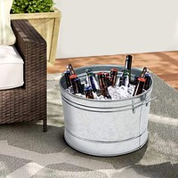 Round Galvanized Steel Tub with Side Handles and Embossed Design, Silver