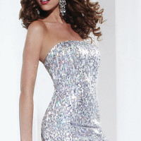 Short Strapless Sequin Dress by Hannah S