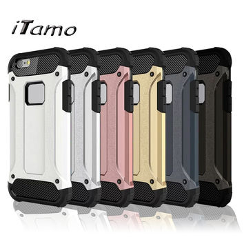 Fashion Hybrid Armor Silicone and Hard Plastic back cover Shockproof phone Cases Covers for iPhone 5 6 s 7 Plus