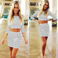 Fashion women white striped casual party 2 two pieces outfits sheath pencil dresses