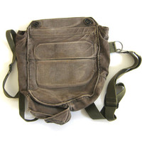 vintage army green rucksack. canvas messenger bag. backpack.