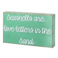 """Seashells Are... Love Letters in the Sand"" Aquamarine / White Decorative Sign"