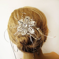 Rhinestone Bridal Haircomb,  Tinsel Vintage Style Hand Embroidered Hair Comb,  Vintage Hair Brooch Wedding Jewel ,Wedding Hair Accessory