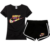 One-nice™ NIEK Women Men Fashion Print Cotton Sport Shirt Shorts Set Two-Piece Sportswear