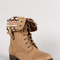 Sharpery-1 Tribal Cuff Military Lace Up Boot