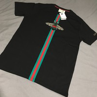 FW17 GUCCI BEE STRIPE T-SHIRT - BLACK - SIZE M - BNWT