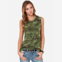 Women Camouflage Tank Tops 2016 Summer New Arrival Ladies Camo Print Sleeveless T Shirt O-Neck Free Shipping