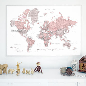 Custom quote - Dusty pink and grey watercolor world map with cities, capitals, countries, US States... labeled. Color combination: Piper