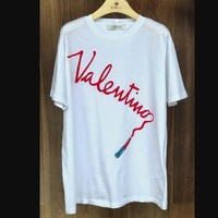 Valentino Lipstick and write T-shirt loose cotton Letters Top