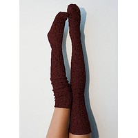Wine Marled Cable Knit Thigh High Socks