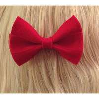 Bright Red Colored Hair Bow Ribbon with Sheer Fabric Perfect for Valentine's Day