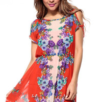 Draped Floral Saraphine Mini Dress