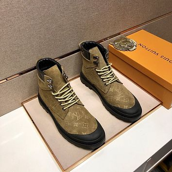 lv louis vuitton trending womens men leather side zip lace up ankle boots shoes high boots 204