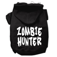 Zombie Hunter Screen Print Pet Hoodies Black Size S (10)