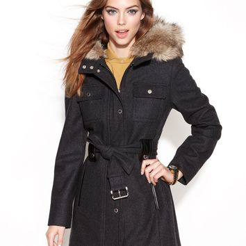 Laundry by Design Coat, Wool-Blend Hooded Faux-Fur-Trim Belted - Juniors Coats - Macy's