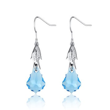 Baroque Drop Swarovski Elements Crystal Earrings - Blue