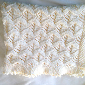 Baby Blanket, Traditional, Handknitted & Hand-Crochet, Pram Blanket In Cream, Cot Blanket, Knitted Baby, Knitted Baby Blanket, Handknitted