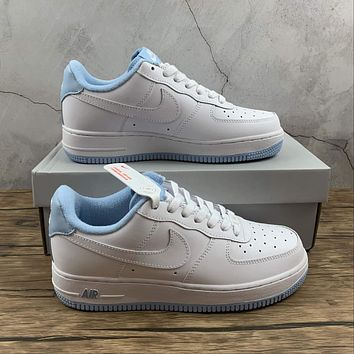Morechoice Tuhz Nike Air Force 1 Gs White Hydrogen Blue Low Sneakers Casual Skaet Shoes Cd6915-103