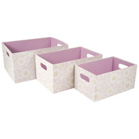 Open Top Home Storage Bins with Cut out Handles (Set of 3)