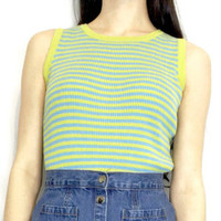 90s Bright Green Yellow Blue Striped Cropped Tank Top XS