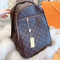 Hipgirls LV Louis vuitton Fashion new monogram tartan print leather book bag backpack bag handbag  women