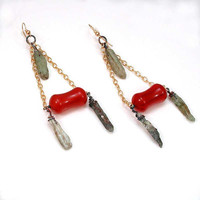 Retro Rock Shard and Lucite Earrings by SwankMetalsmithing on Etsy