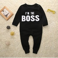 Autumn 2016 Cotton Newborn Toddler Baby Boy Clothes Long Sleeve Romper Boss Printed Jumpsuit Outfits