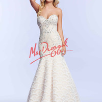 Ivory Lace Mac Duggal Prom Gown 82341M