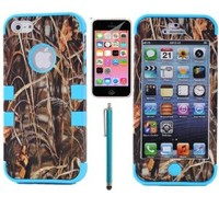 XYUN® 3-pieces Straw Grass Mossy Camo Hybrid Hard Silicone Cover Case for Iphone 5c with Free Screen Protector and Stylus Include a XYUN Mobile Phone Cleaner Dust Plug Gift (Blue)