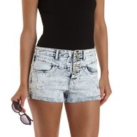 "Refuge ""V Front Shortie"" Cuffed Denim Shorts"