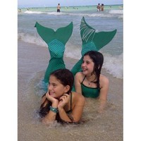 Mermaid Tail for Swimming: Cute Tail with monofin (Green L&S, Child Small)