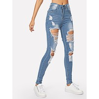 Distressed Bleach Wash Skinny Jeans
