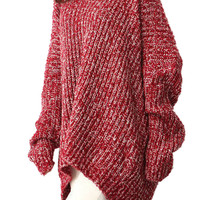 Red V Neck Marled High-low Sweater - Choies.com