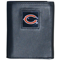 NFL Chicago Bears Tri-fold Wallet Genuine Fine Grain Leather Authentic New