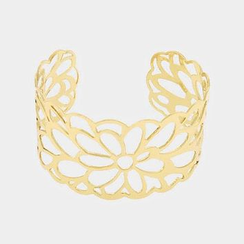Floral Filigree Cut Out Metal Cuff Bracelet